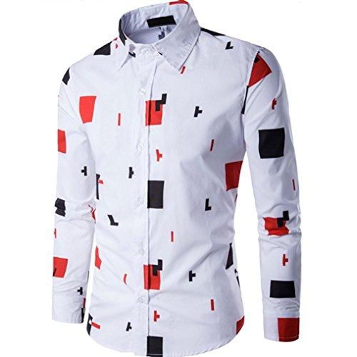 Hombres blusa casual Manga larga camisa negocio Slim Fit camiseta tapa impresa By LMMVP (Blanco, XXL)