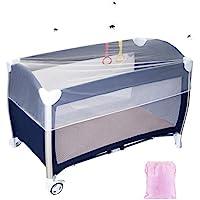 LEMESO Universal Mosquitera Cuna de Viaje Mosquitera Cama Bebe de 120x60cm / 90x40 cm, Color Blanco