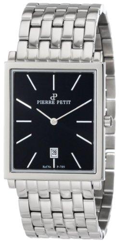 Pierre Petit Men's P-789D Serie Nizza Square Black Dial Stainless-Steel Bracelet Watch