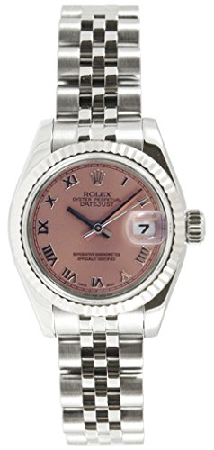 Rolex Ladys New Style Heavy Band Stainless Steel Datejust Model 179174 Jubilee Band 18K White Gold Fluted Bezel Salmon Roman Dial
