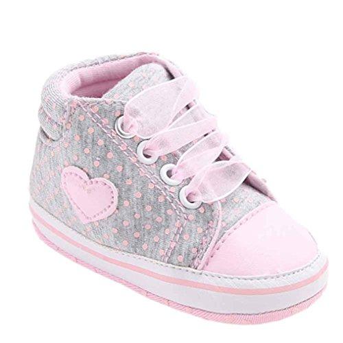Babyschuhe Longra Mädchen Canvas Schuhe Baby Jungen Schuhe Sneaker Anti-Rutsch Weiche Sohle Kleinkind Schuhe Lauflernschuhe(0~18 Monate) (11cm 0~6 Monate, Gray) (Sandalen Kleid Baby-mädchen)