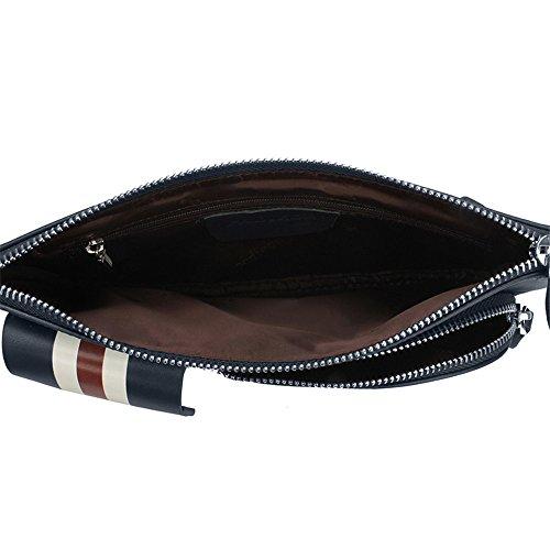 Luckyer Beauty Unisex Leder Brusttasche Unwucht Rucksack Tasche Body Bag Freizeittasche Schulter Bla(YB131008LD) Large-Blau