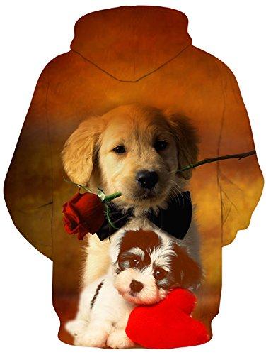 Idgreatim Unisex Kapuzenpullover 3D Bedruckte Tunnelzug Pullover Swearshirt Mit Taschen hund