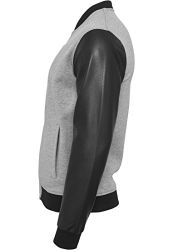 Urban Classics Zipped Leather Imitation Sleeve Jacket, Giacca Uomo gry/blk