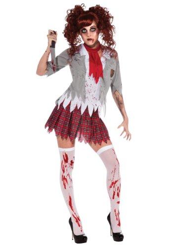 School Kostüm Girl Sexy Red - Zombie Schulmädchen Damenkostüm, Größe:L