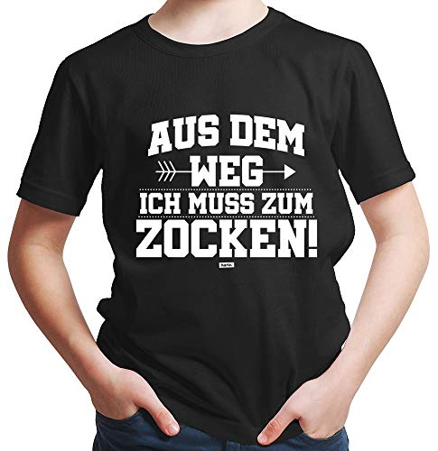 HARIZ  Jungen T-Shirt Aus Dem Weg Zocken Gamer Gaming Inkl. Geschenk Karte Schwarz 140/9-11 Jahre