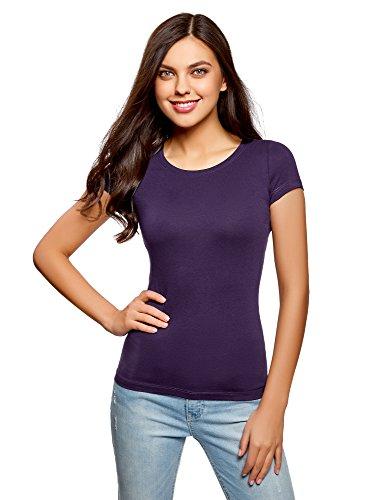 oodji Ultra Damen Tailliertes T-Shirt Basic, Violett, DE 36 / EU 38 / S