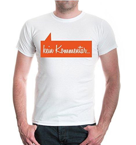 buXsbaum® T-Shirt Kein Kommentar White-Orange