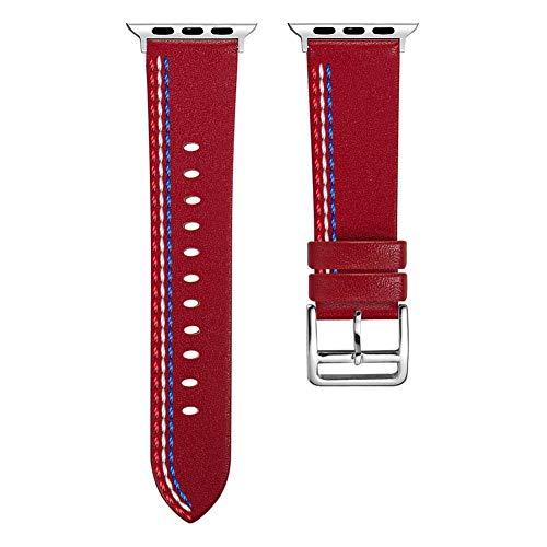 YouN-Lederarmband mit 42-mm-Uhrenarmband für die iWatch-Serie 1 2 3 (Rot)