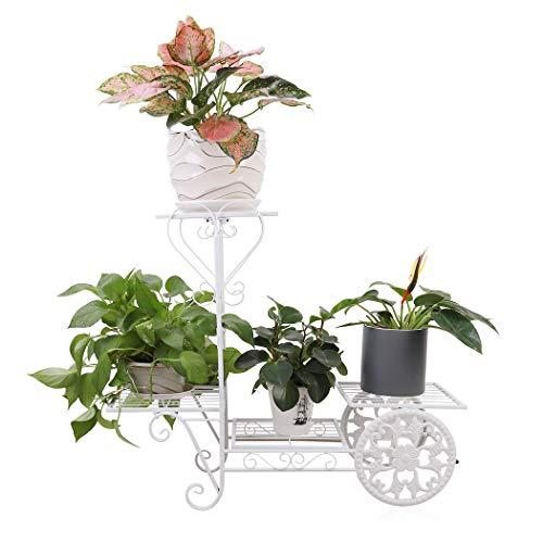 unho Blumenständer aus Metall Blumenregal Pflanzenregal mit 4 Ablagen für Balkon Wohnzimmer Restaurant Hotel Büro Garten Terrasse(Weiß)