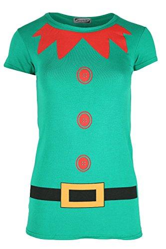shirt Damen Elfe Kostüm Weihnachten Flügelärmel Jerseykleid Top - Jadegrün, 44-46 (Costum Elf)