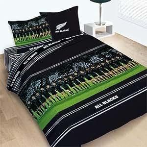 Parure de lit Housse de couette Réversible Sport Rugby ALL BLACKS TEAM 240 X 220 cm + 2 Taies - Devet Cover