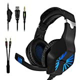 Gaming Headset, YZPUSI 3.5mm Gaming Stereo LED Cuffia con Multi-Platform Microfono per PS4 PC Nuovo Xbox One Laptop Tablet Mobilephones, Cavo Divisore