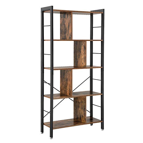 VASAGLE Bücherregal, Büroregal, Raumteiler mit 4 Ebenen, Standregal im Industrie Design Wohnzimmer, Büro,...
