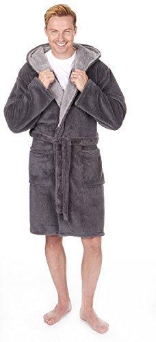 Herren Luxus Kuschlig Fleece mit Kapuze Bademantel (Größen M-2XL) Dick Warm Plüsch Bade Robe - grau, Medium