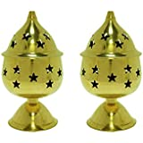 LotusFeet Spirituality Brass Star Nandha Deep with Stand, Diya/Oil Lamp in 100% Brass for Temple, Home & Office Decor - Set of 2