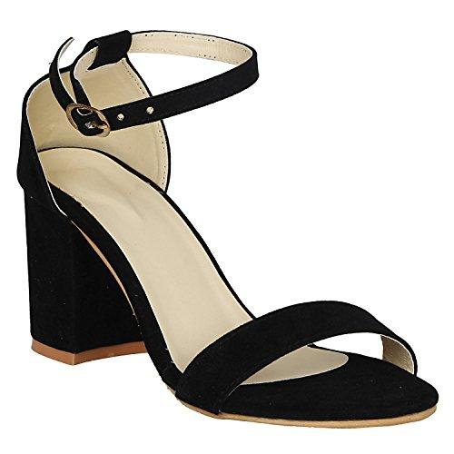 Vagon Women's Suede Leather Heel Sandals (Size: 37, Color: Black)