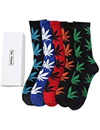 TTD 5 paquetes unisex hoja de hierba impresa calcetines de algodón de hoja de arce impreso