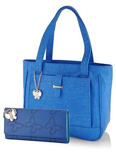 Butterflies Women's Handbag and Wallet Combos' (Blue) (BNS WB0249)