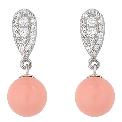 925 Sterling Silber Drop Baumeln Ohrringe mit swаrovski simulаted Coral Pink Perlen – Made in England (Drop Cp)