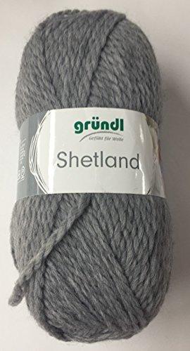 Gründl Wolle Shetland Farbe 14 - grau - Schnellstrickwolle, weiche Wolle zum Stricken & Häkeln 100g Knäuel (Shetland Wolle Strickjacke)