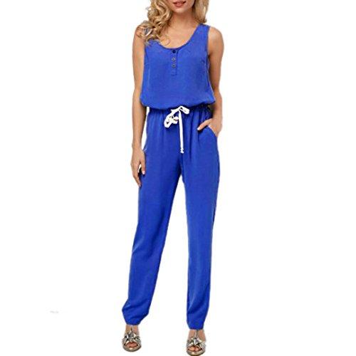 trappy V-Ausschnitt Tasche Playsuit Bodycon Party Clubwear Jumpsuit(X-Blau,EU-36/CN-S) (Billige Tutus Für Frauen)