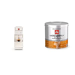 Francis Francis by illy 60291 Y3.2 iperespresso Coffee Capsule Machine, 850 W, White with illy Iperespresso Monoarabica Ethiopia 21 Espresso Capsules, 141g (Pack of 1, Total 21 Capsules)
