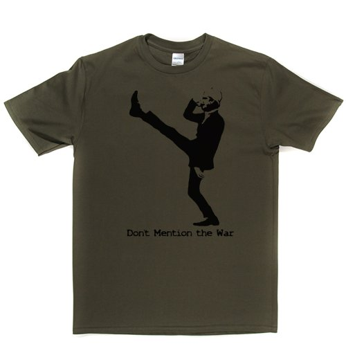 Dont Mention the War Basil Fawlty British TV Comedy Print T-shirt Militärgrün