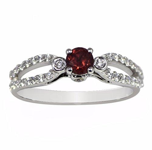 Shine Jewel 925 Sterling Silver Round Cut Garnet Topaz Halo Ring
