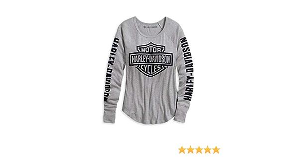 """Harley-Davidson Damen /""""Logo Rib Knit/"""" Shirt Langarm 99043-20VW Longsleeve Grau"""