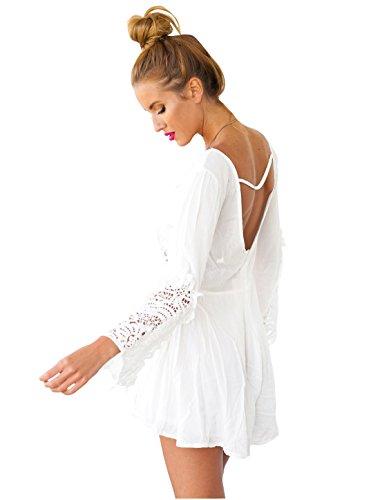 Femme Design Crochet Creusé Col V Profond Ouvert Panneau Arrière Combinaison Blanc
