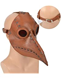 SmallPocket Masque de médecin de la peste Long Nez Bec Oiseau Masque Gothique Cosplay rétro Steampunk Oiseau Masque Halloween Costume Cosplay Accessoires pour Adultes