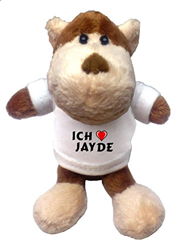 Jayde Bekleidung (Plüsch Affe Schlüsselhalter mit T-shirt mit Aufschrift Ich liebe Jayde (Vorname/Zuname/Spitzname))