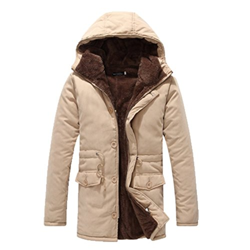 OHmais homme parka manteau d'hiver veste à capuche fourré Kaki
