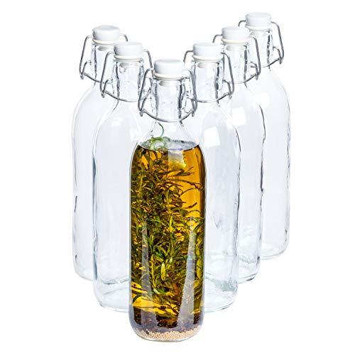 Van Well Bormioli Rocco | 6er-Set Bügelflasche Emilia 1L | klare Glas-Flaschen mit Bügelverschluss | Trink-Behälter | Karaffen | Deko-Vase | Saftflaschen
