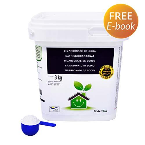 Natron NortemBio 3 Kg. Premium Natriumhydrogencarbonat in Pharmazeutischer Qualität. Ökologischer Input aus natürlichem Ursprung. Natriumbicarbonat. Aluminiumfrei. CE - Produkt