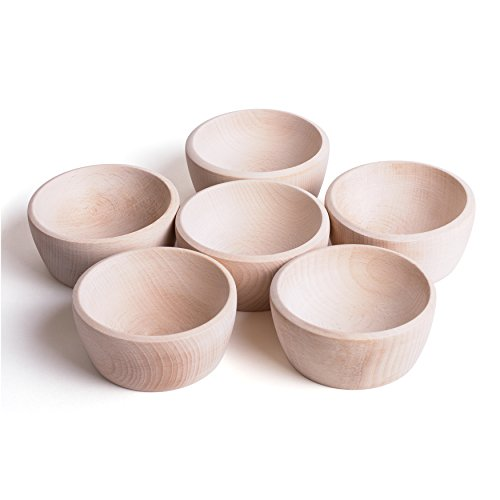 6 Wooden Natural Bowls - Montessori Learning Resource Treasure Basket