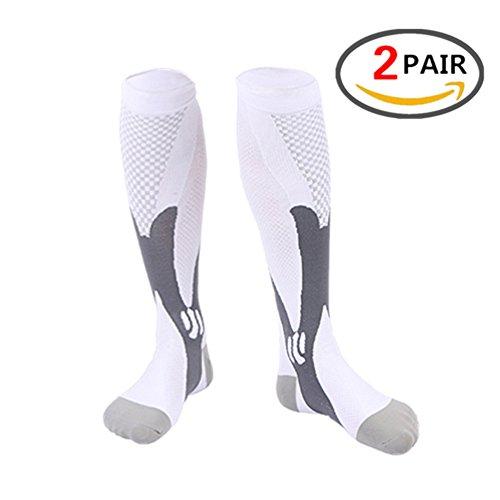Kalb-Kompressionshülse für Männer & Frauen, beste fußlose Socken für Läufer Kälber & Beinkrämpfe, Schienbeinschienen Zirkulation Abhilfe, Stützstrümpfe, Laufausrüstung Basketball Lycra Strumpfhose (2 PAARE)) (Heels Basketball Adidas)