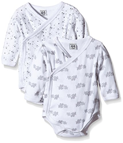 Care Unisex Baby Langarm-Wickelbody im 2er Pack, All over print, Gr. 56, Weiß (White 100)