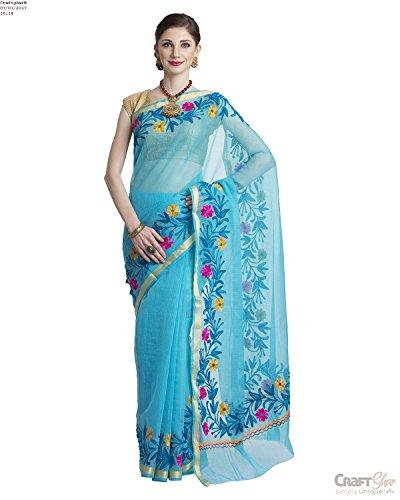 Craftghar Women's Cotton Saree With Blouse Piece (U-07-115,Multicolor ,Free Size)