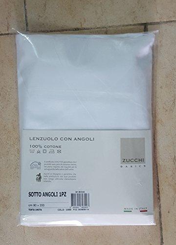 Lenzuolo sotto con angoli 1 piazza letto singolo cm 90 x 200 zucchi basics col.0 -1000 bianco tinta unita 100% puro cotone