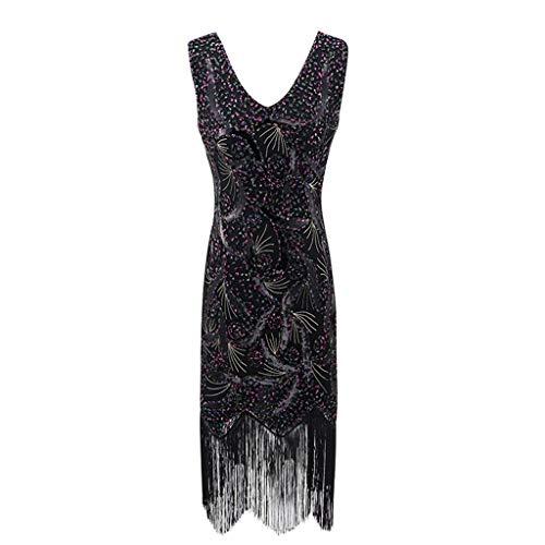 Hffan 1920s Kleid Damen Kleid V Ausschnitt Great Gatsby Motto Party Frau Fasching Kostüm Kleid Mädchen Flapper Kleid Paillettenbesetzt Party Lange Quaste Kleid (Gatsby Kleider Online)