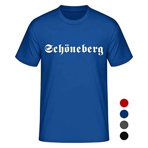 Dein Kiez Unisex T-Shirt Altdeutsch Schöneberg in den Farben schwarz, rot, blau und anthrazit