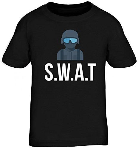 Karneval Kids Kinder T-Shirt mit SWAT Kostüm 2 Motiv, Größe: 152/164,Schwarz (Kid Swat Kostüme)