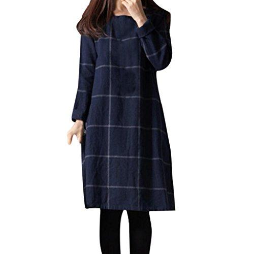 Leinen T-shirt Kleid (Kleider , Frashing Damen Jersey Kleid Langarm Rundkragen Spitzenkleid Herbst Swing Kleider Skater kleider Lockeres langärmliges kariertes Kleid (3XL, Blau))