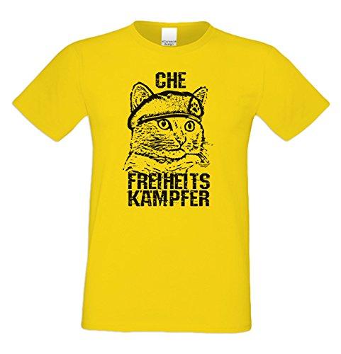 Geschenk für Katzenfreunde :-: Motiv T-Shirt Katzen :-: Che :-: Geschenkidee für Tier-Freunde zum Geburtstag Vatertag Weihnachten :-: Farbe: gelb Gelb