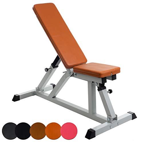ScSPORTS Hantelbank mit Verstellbarer Sitz- und Rückenlehne, variabel einstellbar flach/schräg/90 Grad, bis 200 kg belastbar, Rot-Braun