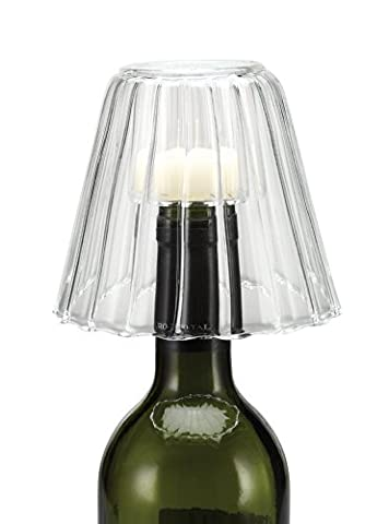 Creative Co-op Hand Blown Glass Wine Bottle Stopper/Tealight Holder, 4.5-Inch, Clear