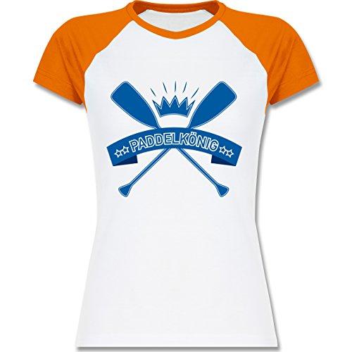 Wassersport - Paddelkönig - zweifarbiges Baseballshirt / Raglan T-Shirt für Damen Weiß/Orange