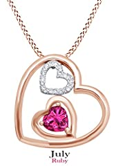 Idea Regalo - 925 in argento Sterling con ciondolo a forma di cuore intercambiabili per donne ragazze (placcato in oro rosa K), Argento placcato oro rosa 18 ct, colore: Simulated Ruby, cod. UK-M-CSP25731-RG-RUB